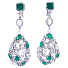Ruchi New York Emerald and Rose Cut Diamond Chandelier Earrings