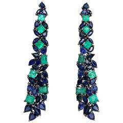 Ruchi New York Emerald and Sapphire Chandelier Earrings