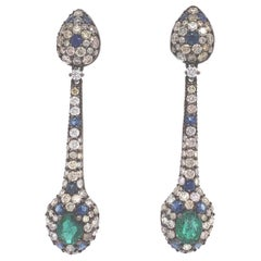 Ruchi New York Emerald, Blue Sapphire and Diamond Earrings