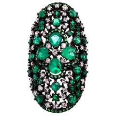 Ruchi New York Emerald Cluster Ring