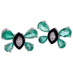 Ruchi New York Emerald, Diamond and Black Agate Butterfly Stud Earrings