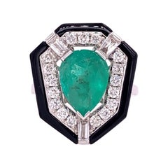 Ruchi New York Emerald, Diamond and Black Agate Cocktail Ring