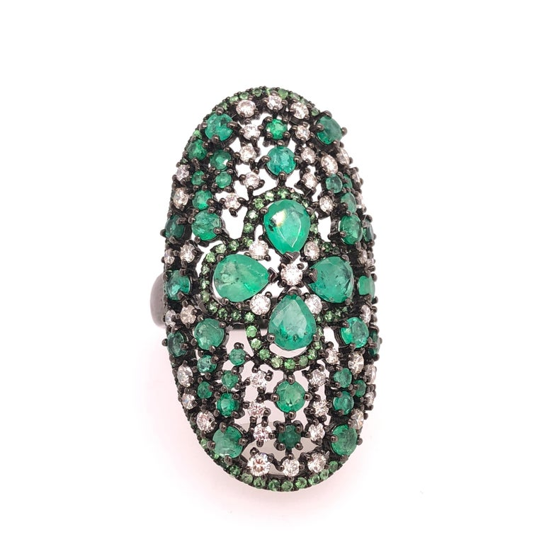 Contemporary Ruchi New York Emerald, Diamond and Green Garnet Cocktail Ring For Sale