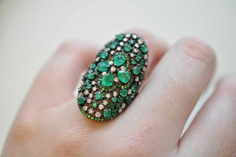 Ruchi New York Emerald, Diamond and Green Garnet Cocktail Ring In New Condition For Sale In New York, NY