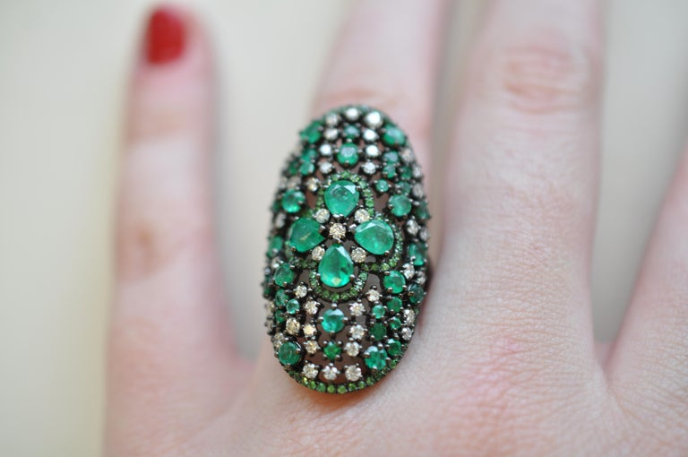 Women's Ruchi New York Emerald, Diamond and Green Garnet Cocktail Ring For Sale