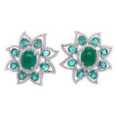 Ruchi New York Emerald & Diamond Flower Clip on Earrings