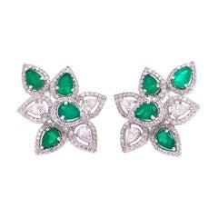 Ruchi New York Emerald & Diamond Leaf Clip On Earrings