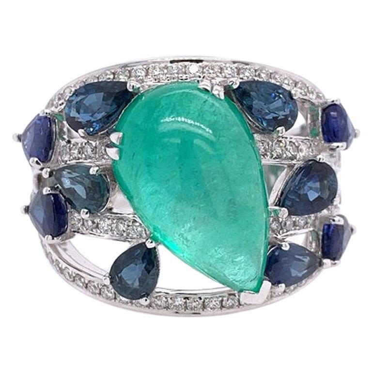 Ruchi New York Emerald, Sapphire and Diamond Cocktail Ring