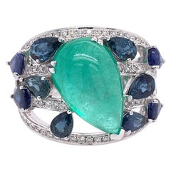 Ruchi New York Emerald, Sapphire and Diamond Cocktail Ring