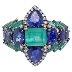 Ruchi New York Emerald, Sapphire and Diamond Statement Ring