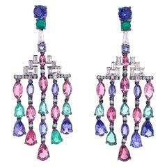 Ruchi New York Emerald, Tanzanite and Diamond Chandelier Earrings