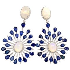 Ruchi New York Ethiopian Opal and Blue Sapphire Chandelier Earrings