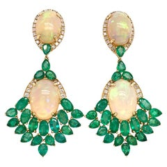 Ruchi New York Ethiopian Opal and Emerald Earrings