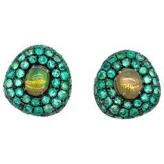 Ruchi New York Ethiopian Opal and Emerald Stud Earrings
