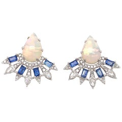 Ruchi New York Ethiopian Opal and Sapphire Baguette Earrings