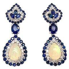 Ruchi New York Ethiopian Opal, Blue Sapphire and Diamond Dangle Drop Earrings