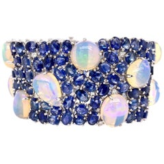 Ruchi New York Ethiopian Opal, Blue Sapphire and Diamond Statement Bracelet