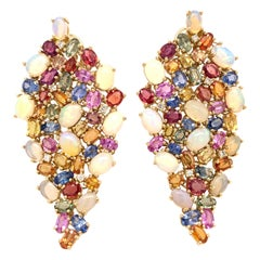 Ruchi New York Ethiopian Opal, Color Sapphire and Diamond Chandelier Earrings