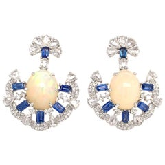 Ruchi New York Ethiopian Opal, Diamond and Blue Sapphire Earrings