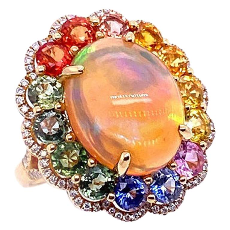 Ruchi New York Ethiopian Opal, Multi-Color Sapphire, and Diamond Cocktail Ring