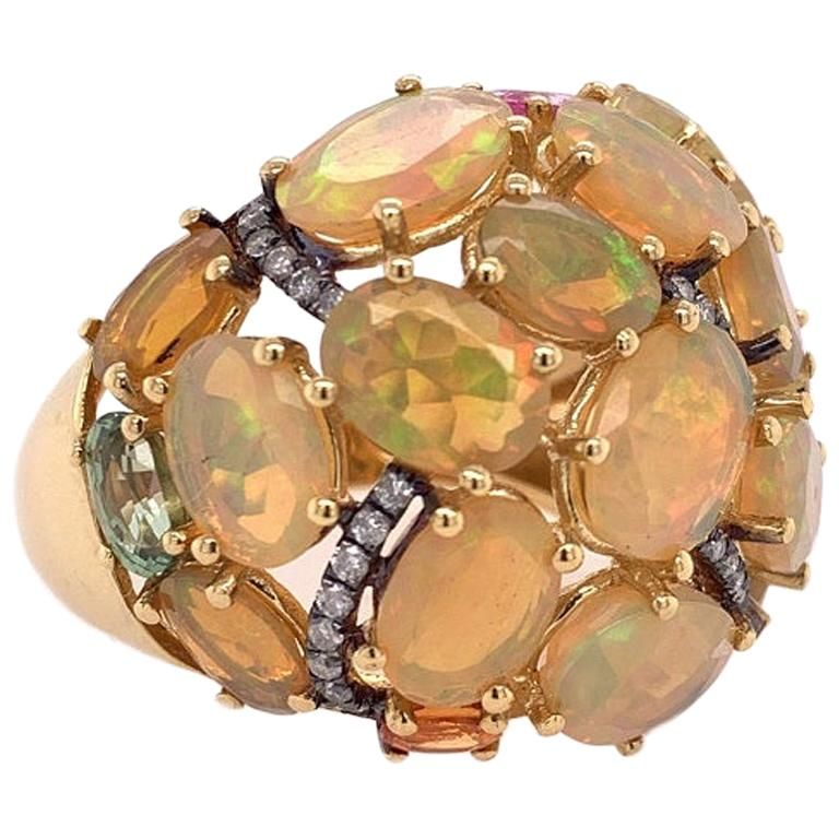 Ruchi New York Ethiopian Opal, Multi Colored Sapphire and Diamond Cocktail Ring