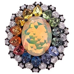 Ruchi New York Ethiopian Opal, Multicolored Sapphire and Diamond Cocktail Ring