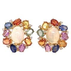 Ruchi New York Ethiopian Opal, Multicolored Sapphire and Diamond Earrings