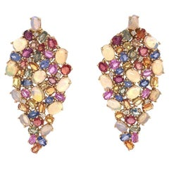Ruchi New York Ethiopian Opal, Multicolored Sapphire and Diamond Earrings