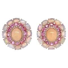 Ruchi New York Ethiopian Opal, Pink Sapphire and Diamond Earrings