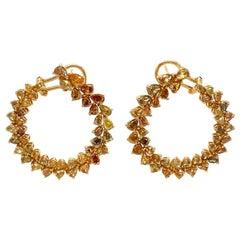 Ruchi New York Fancy Colored Diamond C-Shape Earrings