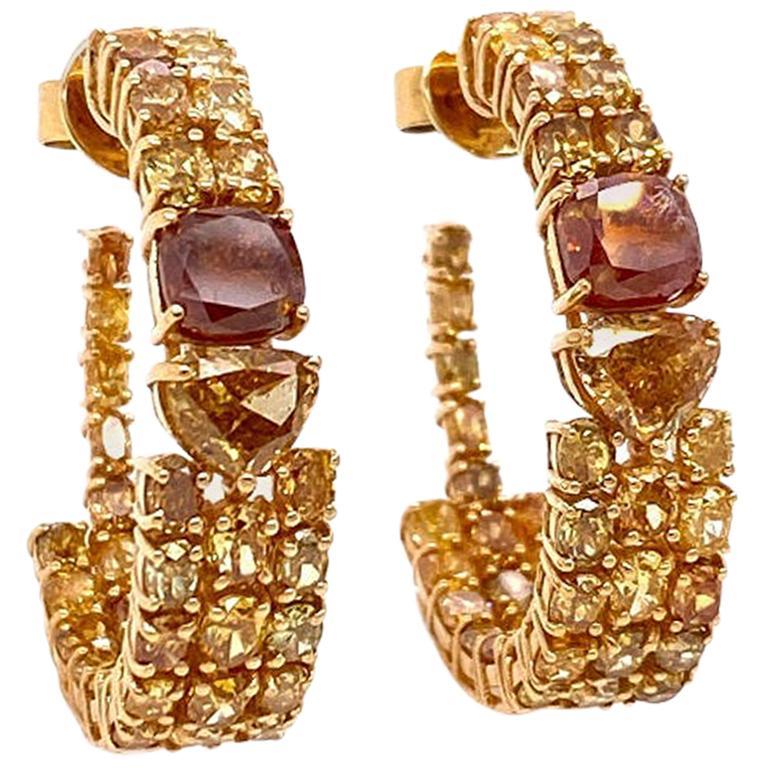 Ruchi New York Fancy Diamond Hoop Earrings