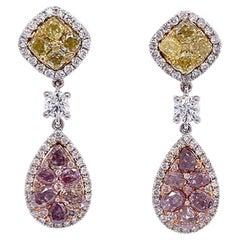 Ruchi New York Fancy Pink, Yellow, and White Diamond Drop Earrings