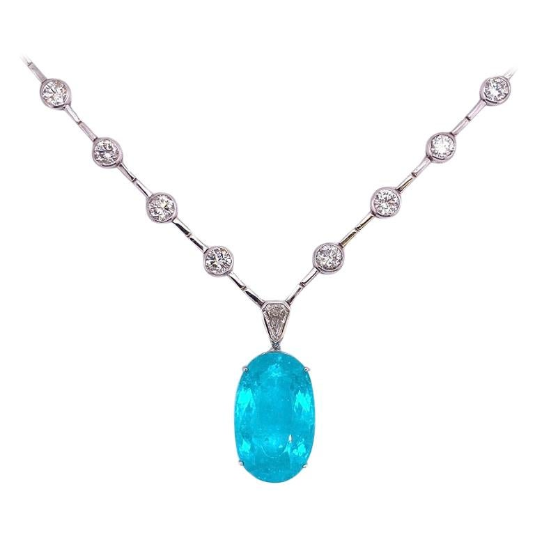 Ruchi New York GIA Certified Paraiba Tourmaline and Diamond Necklace