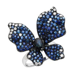 Ruchi New York Gradient Blue Sapphire And Diamond Butterfly Ring