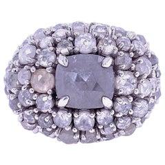 Ruchi New York Icy Grey Rose Cut Diamond Cocktail Ring
