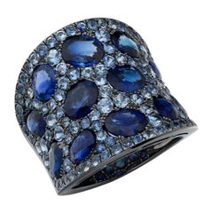 Ruchi New York Light and Dark Blue Sapphire Cocktail Ring