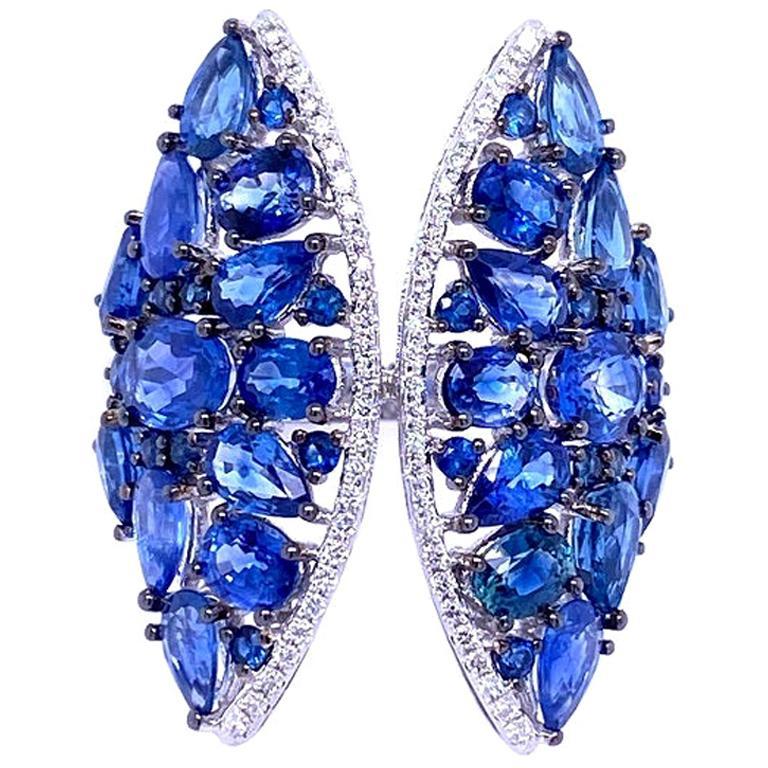 Ruchi New York Multi Blue Sapphire and Diamond Cocktail Ring