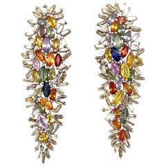 Ruchi New York Multi-Color Marquise and Diamond Baguette Chandelier Earrings