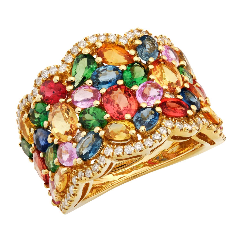 Ruchi New York Multi-Color Sapphire and Diamond Ring
