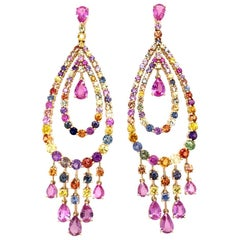 Ruchi New York Multi-Color Sapphire Chandelier Earrings