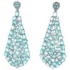 Ruchi New York Multi Shape Paraiba Tourmaline and Diamond Chandelier Earrings