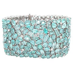 Ruchi New York Multi Shape Paraiba Tourmaline and Diamond Statement Bracelet