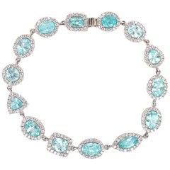 Ruchi New York Multi Shape Paraiba Tourmaline and Diamond Tennis Bracelet