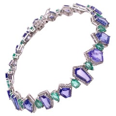 Ruchi New York Multi Shape Tanzanite, Emerald and Diamond Bracelet