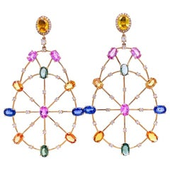 Ruchi New York Multicolored Sapphire and Diamond Chandelier Earrings
