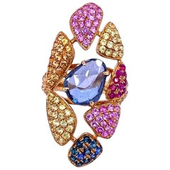 Ruchi New York Multicolored Sapphire Cocktail Ring