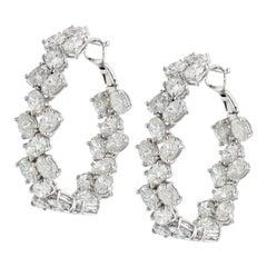 Ruchi New York Oval Diamond Hoop Earrings