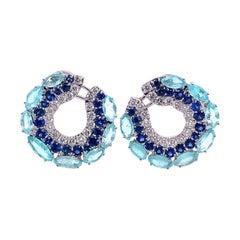 Ruchi New York Paraiba, Blue Sapphire and Diamond C Shape Earrings