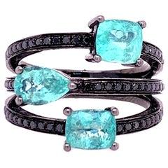 Ruchi New York Paraiba Tourmaline and Black Diamond Ring