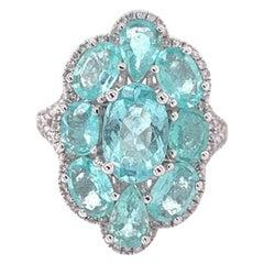 Ruchi New York Paraiba Tourmaline and Diamond Cocktail Ring